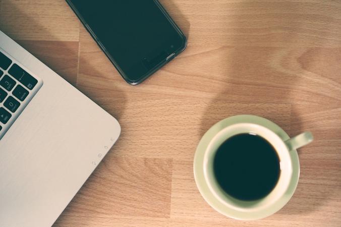desk computer phone smartphone coffee