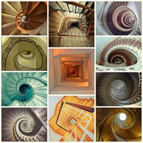spiral staircase collage