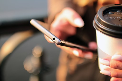 smartphone mobile hand coffee